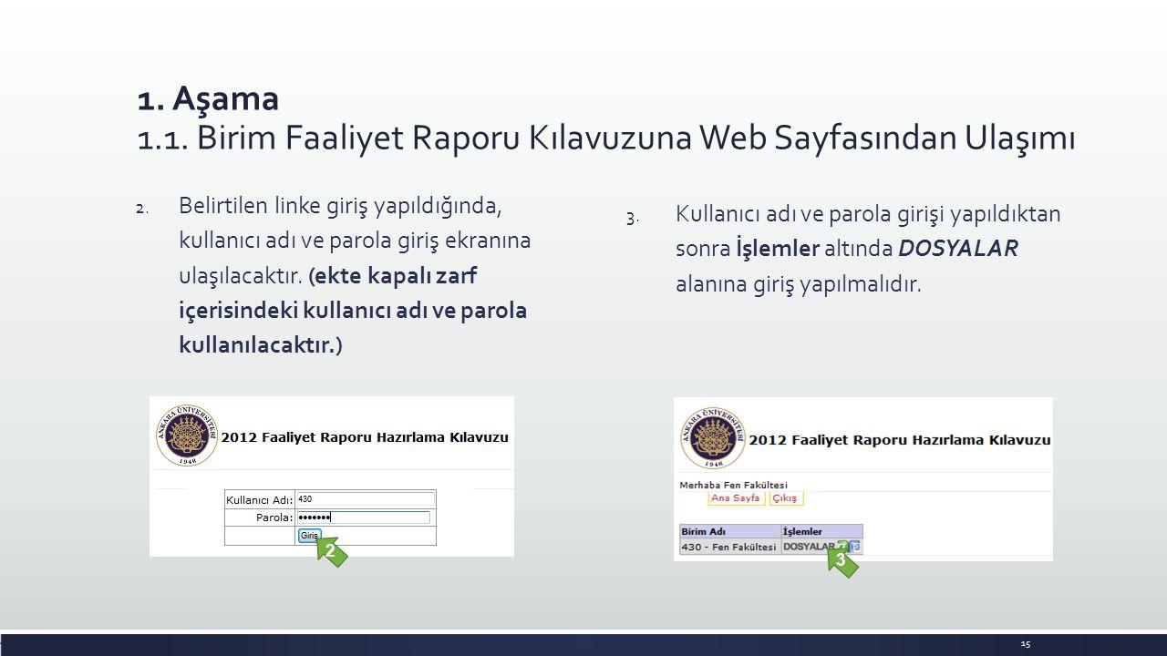 1. Aşama 1.1. Birim Faaliyet Raporu Kılavuzuna Web Sayfasından Ulaşımı 2. Belirtilen linke giriş yapıldığında, kullanıcı adı ve parola giriş ekranına