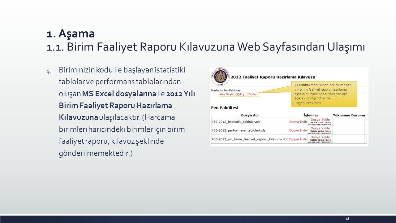 1. Aşama 1.1. Birim Faaliyet Raporu Kılavuzuna Web Sayfasından Ulaşımı 4. Biriminizin kodu ile başlayan istatistiki tablolar ve performans tablolarınd
