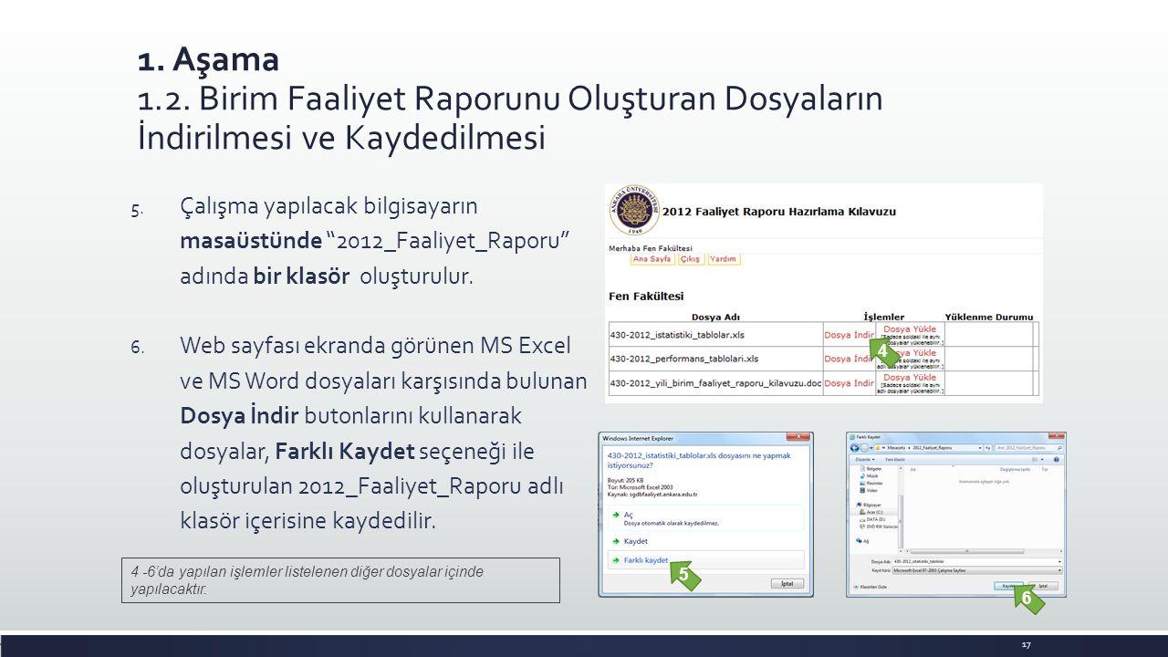 """1. Aşama 1.2. Birim Faaliyet Raporunu Oluşturan Dosyaların İndirilmesi ve Kaydedilmesi 5. Çalışma yapılacak bilgisayarın masaüstünde """"2012_Faaliyet_Ra"""