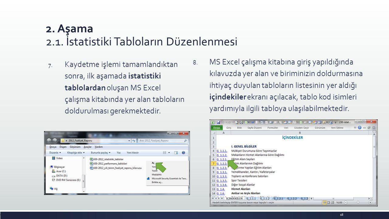 2. Aşama 2.1. İstatistiki Tabloların Düzenlenmesi 8. MS Excel çalışma kitabına giriş yapıldığında kılavuzda yer alan ve biriminizin doldurmasına ihtiy