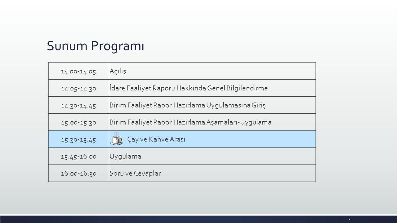 Sunum Programı 14:00-14:05Açılış 14:05-14:30İdare Faaliyet Raporu Hakkında Genel Bilgilendirme 14:30-14:45Birim Faaliyet Rapor Hazırlama Uygulamasına