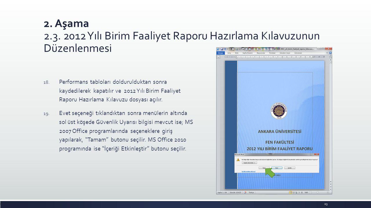 2. Aşama 2.3. 2012 Yılı Birim Faaliyet Raporu Hazırlama Kılavuzunun Düzenlenmesi 18. Performans tabloları doldurulduktan sonra kaydedilerek kapatılır
