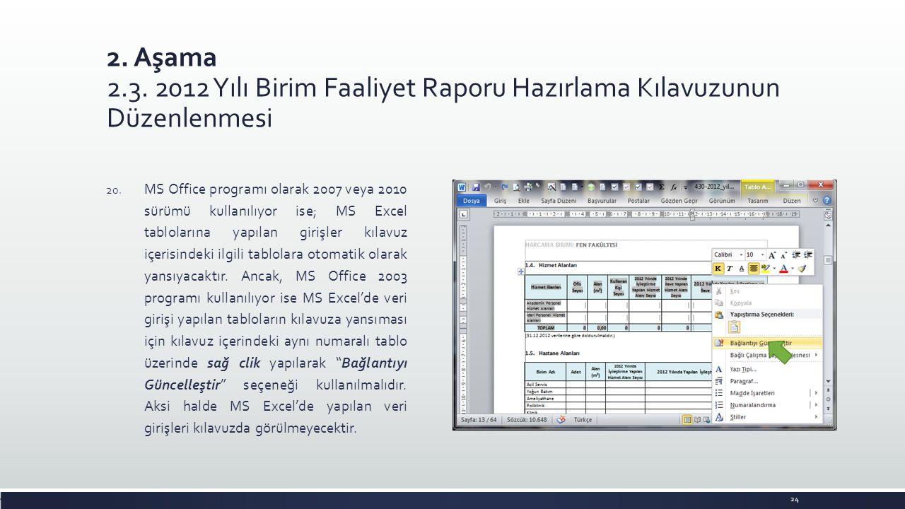 2. Aşama 2.3. 2012 Yılı Birim Faaliyet Raporu Hazırlama Kılavuzunun Düzenlenmesi 20. MS Office programı olarak 2007 veya 2010 sürümü kullanılıyor ise;