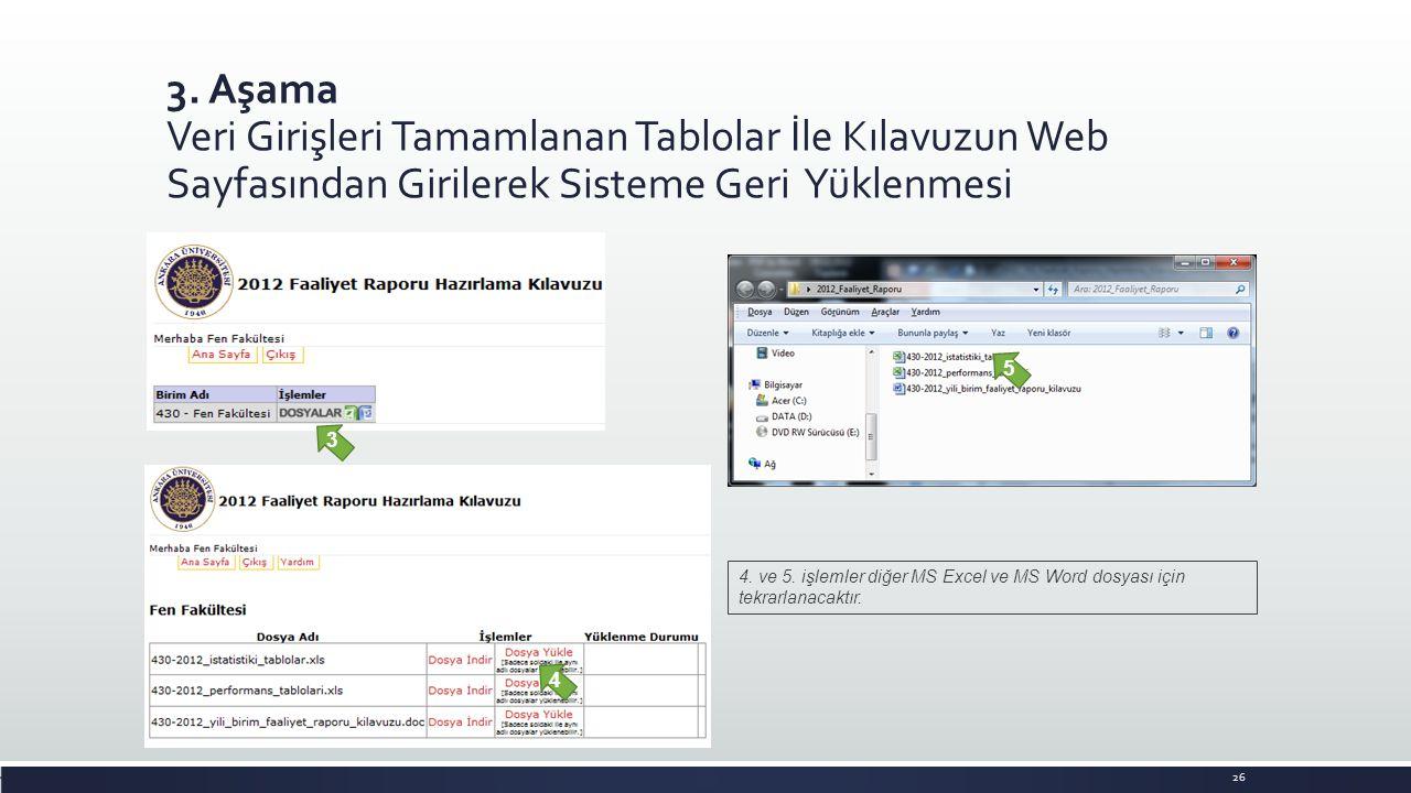 3. Aşama Veri Girişleri Tamamlanan Tablolar İle Kılavuzun Web Sayfasından Girilerek Sisteme Geri Yüklenmesi. 26 4. ve 5. işlemler diğer MS Excel ve MS