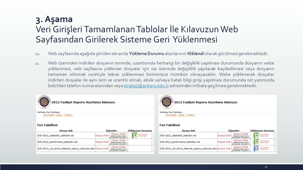 3. Aşama Veri Girişleri Tamamlanan Tablolar İle Kılavuzun Web Sayfasından Girilerek Sisteme Geri Yüklenmesi 27 20. Web sayfasında aşağıda görülen ekra