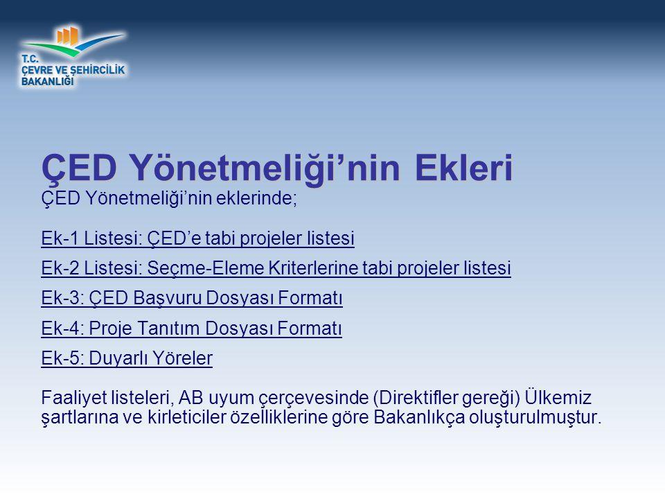 ÇED; Yönetmeliğin Ek-I ve Ek-II Listesinde adı geçen faaliyetlere uygulanır.