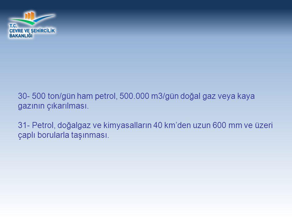 30- 500 ton/gün ham petrol, 500.000 m3/gün doğal gaz veya kaya gazının çıkarılması.