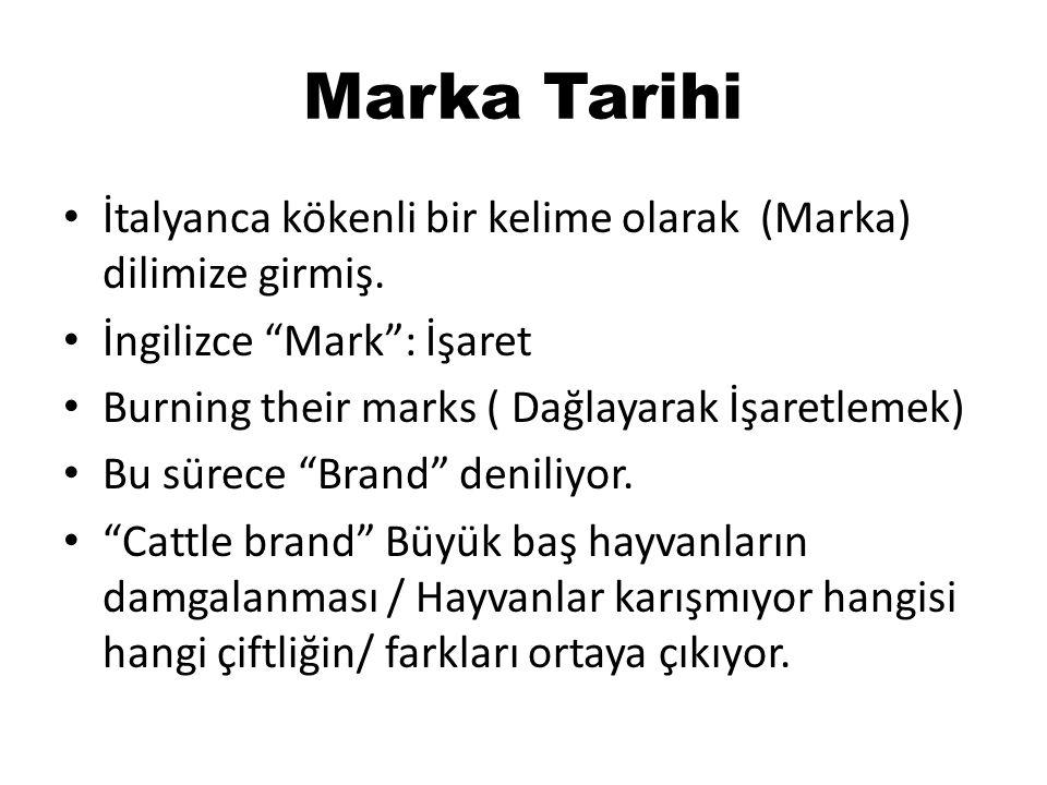 """Marka Tarihi • İtalyanca kökenli bir kelime olarak (Marka) dilimize girmiş. • İngilizce """"Mark"""": İşaret • Burning their marks ( Dağlayarak İşaretlemek)"""