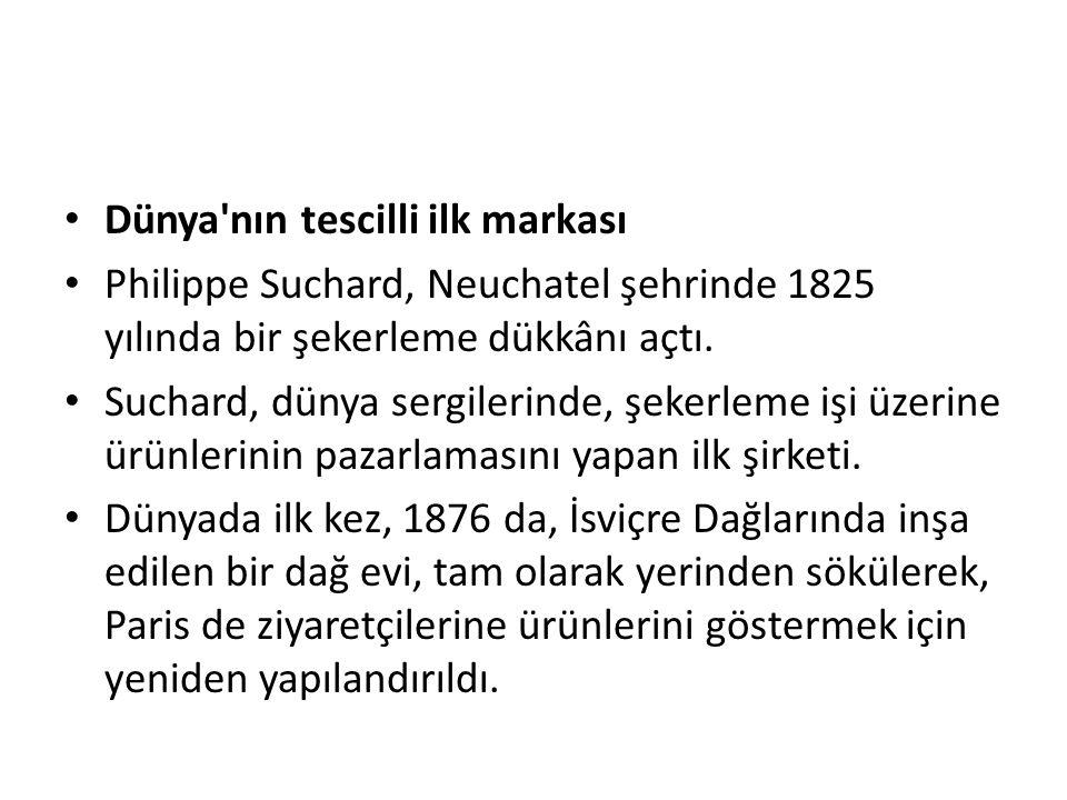 • Dünya'nın tescilli ilk markası • Philippe Suchard, Neuchatel şehrinde 1825 yılında bir şekerleme dükkânı açtı. • Suchard, dünya sergilerinde, şekerl
