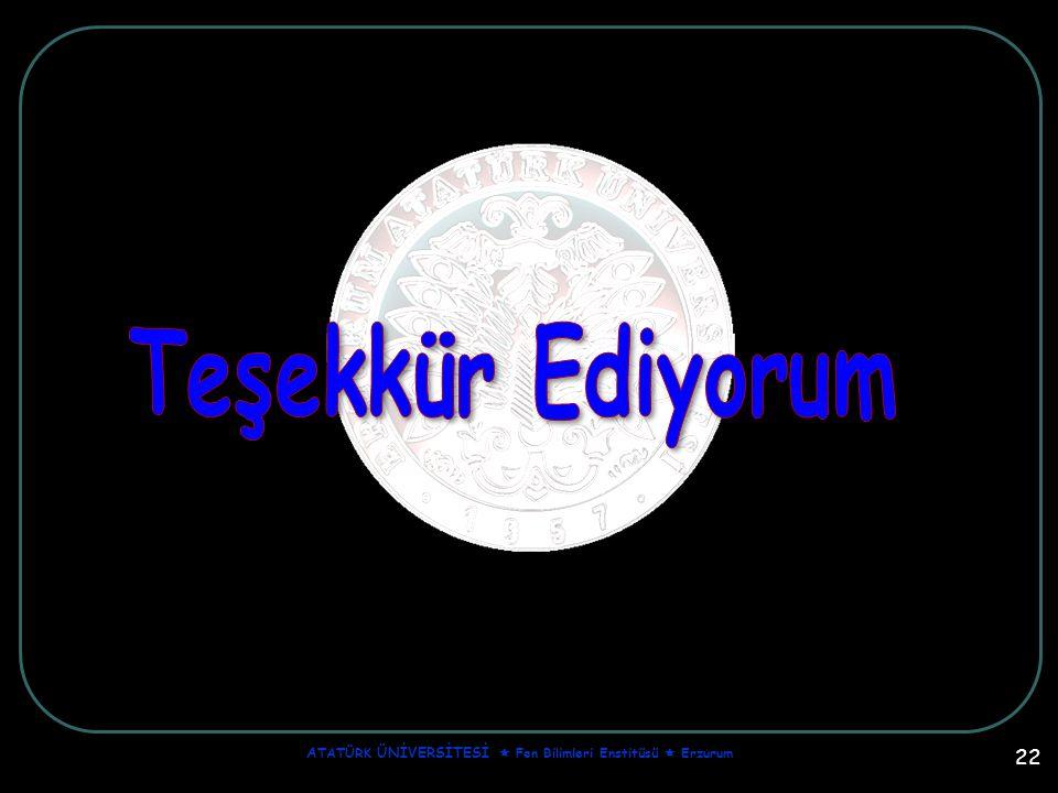 22 A TATÜRK ÜNİVERSİTESİ  Fen Bilimleri Enstitüsü  Erzurum