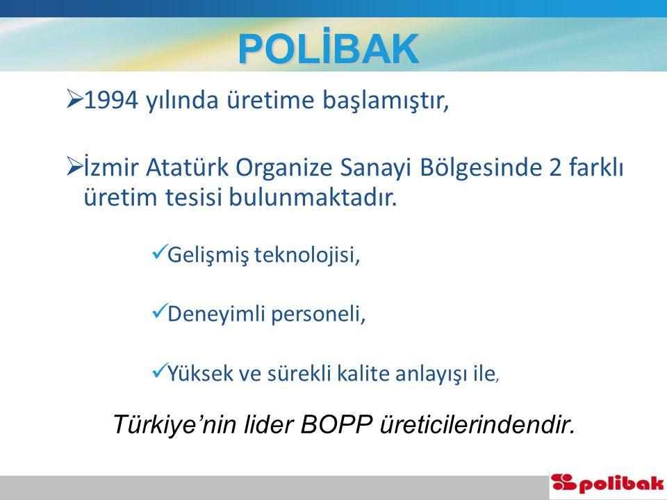 2 Türkiye'nin lider BOPP üreticilerindendir.