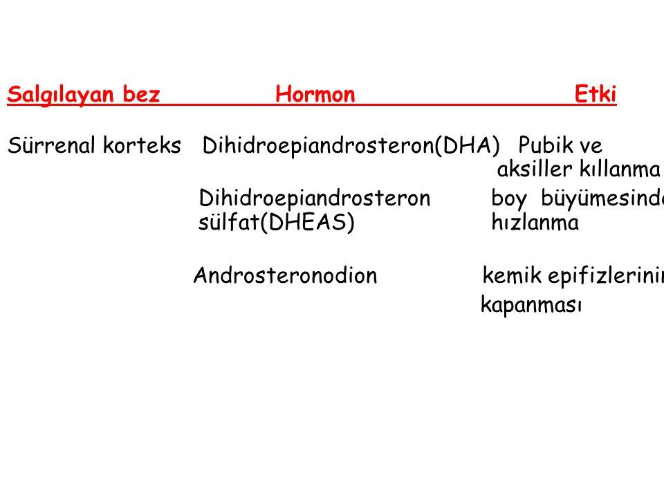 Salgılayan bez Hormon Etki Sürrenal korteks Dihidroepiandrosteron(DHA) Pubik ve aksiller kıllanma Dihidroepiandrosteron boy büyümesinde sülfat(DHEAS)