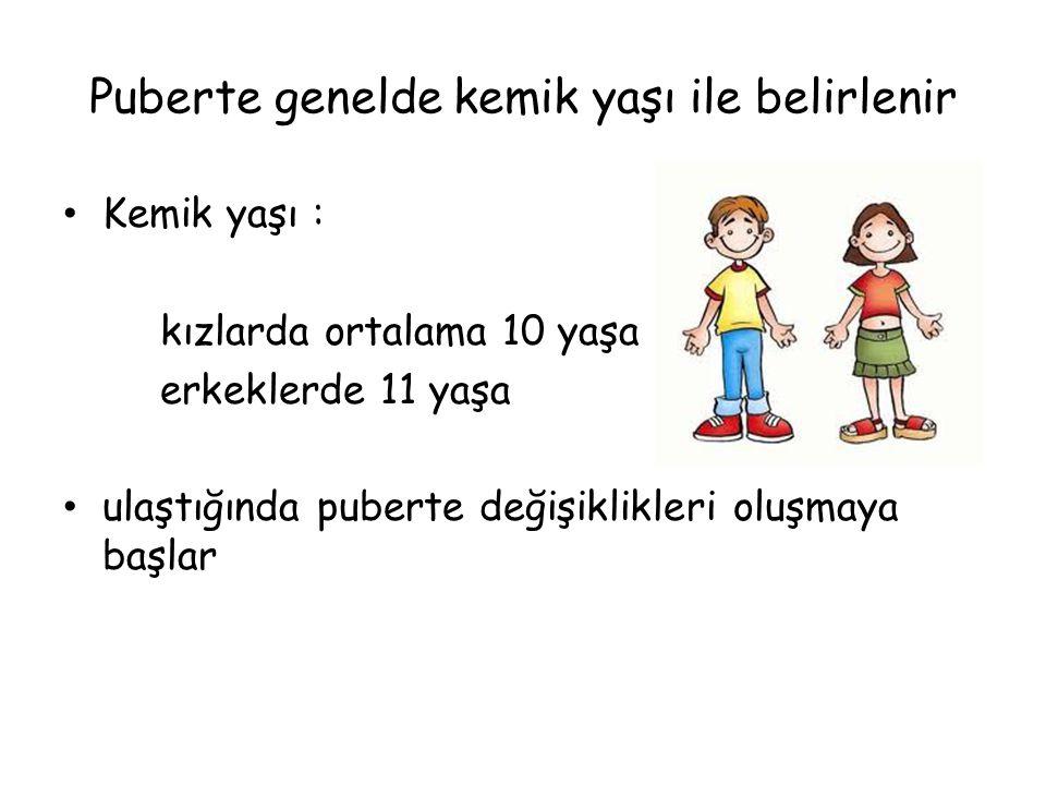 Puberte genelde kemik yaşı ile belirlenir • Kemik yaşı : kızlarda ortalama 10 yaşa erkeklerde 11 yaşa • ulaştığında puberte değişiklikleri oluşmaya ba