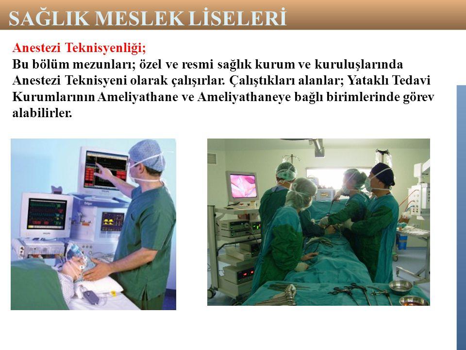 Anestezi Teknisyenliği; Bu bölüm mezunları; özel ve resmi sağlık kurum ve kuruluşlarında Anestezi Teknisyeni olarak çalışırlar. Çalıştıkları alanlar;