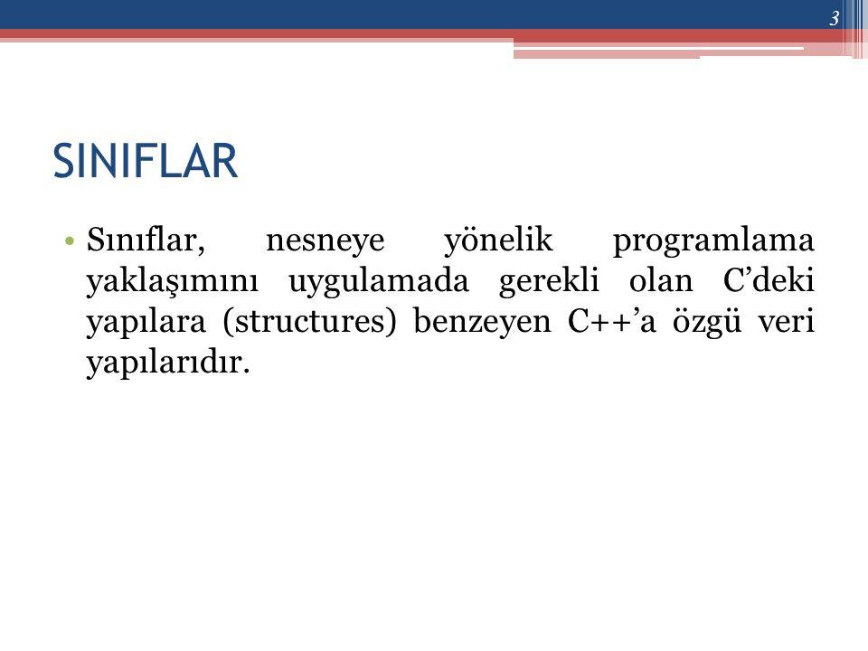 SINIFLAR •Sınıflar, nesneye yönelik programlama yaklaşımını uygulamada gerekli olan C'deki yapılara (structures) benzeyen C++'a özgü veri yapılarıdır.