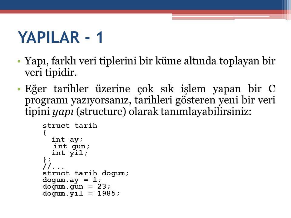 YAPILAR - 1 •Yapı, farklı veri tiplerini bir küme altında toplayan bir veri tipidir. •Eğer tarihler üzerine çok sık işlem yapan bir C programı yazıyor