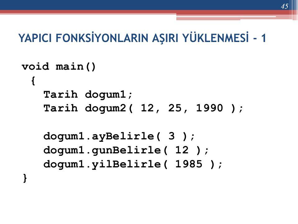 YAPICI FONKSİYONLARIN AŞIRI YÜKLENMESİ - 1 void main() { Tarih dogum1; Tarih dogum2( 12, 25, 1990 ); dogum1.ayBelirle( 3 ); dogum1.gunBelirle( 12 ); d