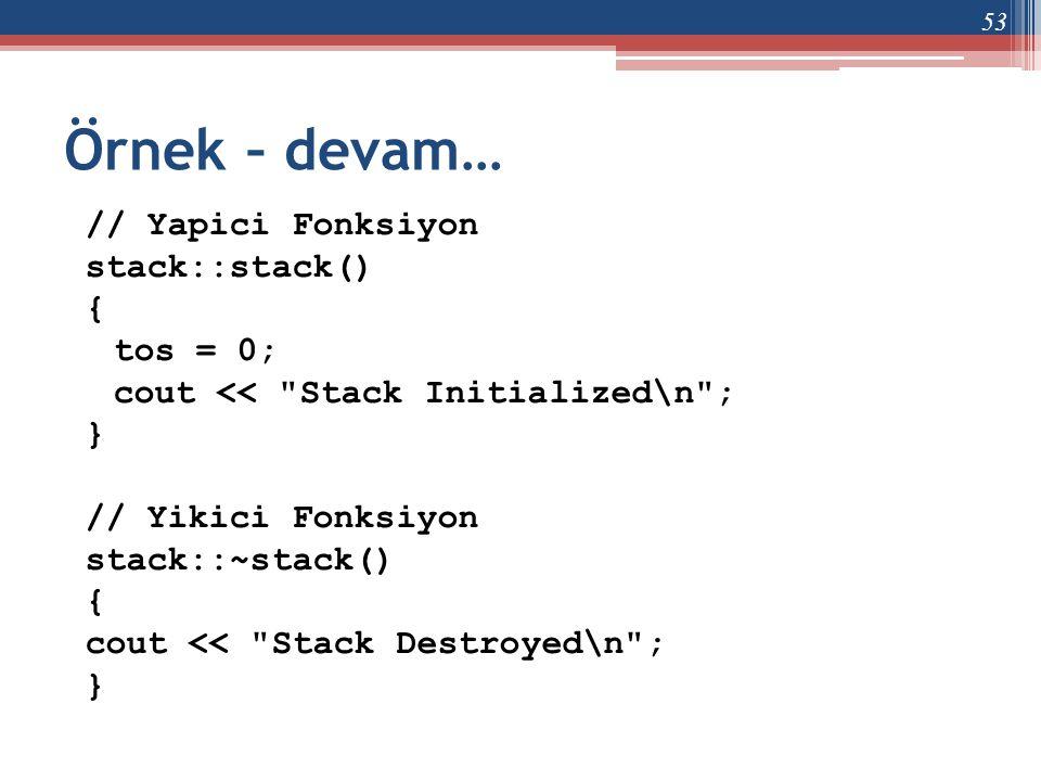 Örnek – devam… // Yapici Fonksiyon stack::stack() { tos = 0; cout <<