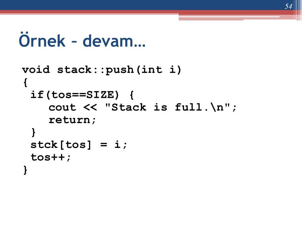 Örnek – devam… void stack::push(int i) { if(tos==SIZE) { cout <<