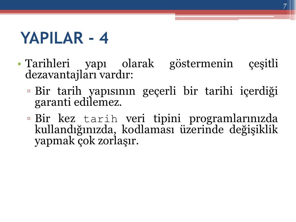 YAPILAR - 5 •Bu problemlerden kaçınmak için daha fazla programlama eforu göstermelisiniz.
