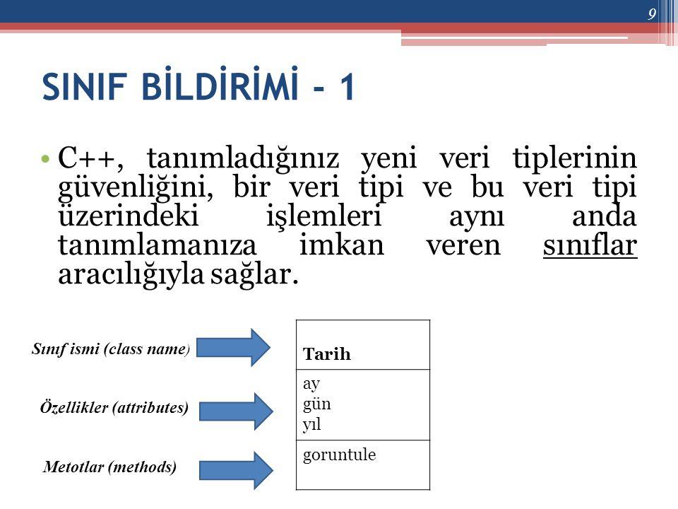 ELEMAN NESNELER - 2 •Bir eleman nesne için yapıcı fonksiyon çağrımı, eleman nesneye ilk değer atamalarının yapılmasını gerektirir.