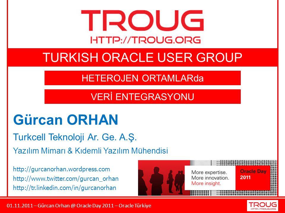 01.11.2011 – Gürcan Orhan @ Oracle Day 2011 – Oracle Türkiye Gürcan ORHAN Turkcell Teknoloji Ar. Ge. A.Ş. Yazılım Mimarı & Kıdemli Yazılım Mühendisi h