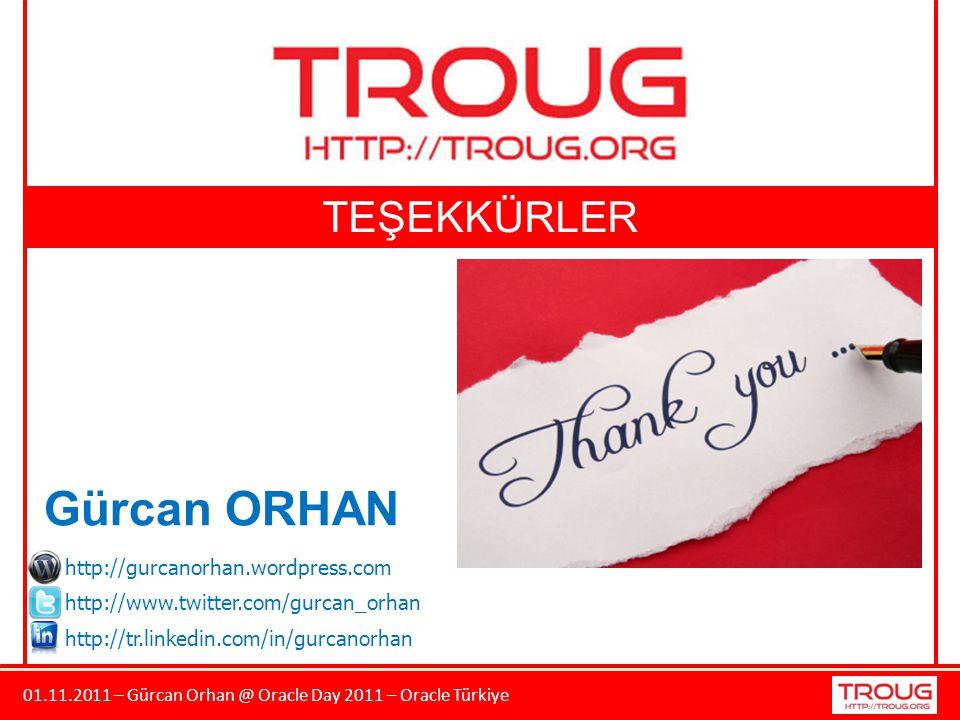 01.11.2011 – Gürcan Orhan @ Oracle Day 2011 – Oracle Türkiye TEŞEKKÜRLER Gürcan ORHAN http://gurcanorhan.wordpress.com http://www.twitter.com/gurcan_o