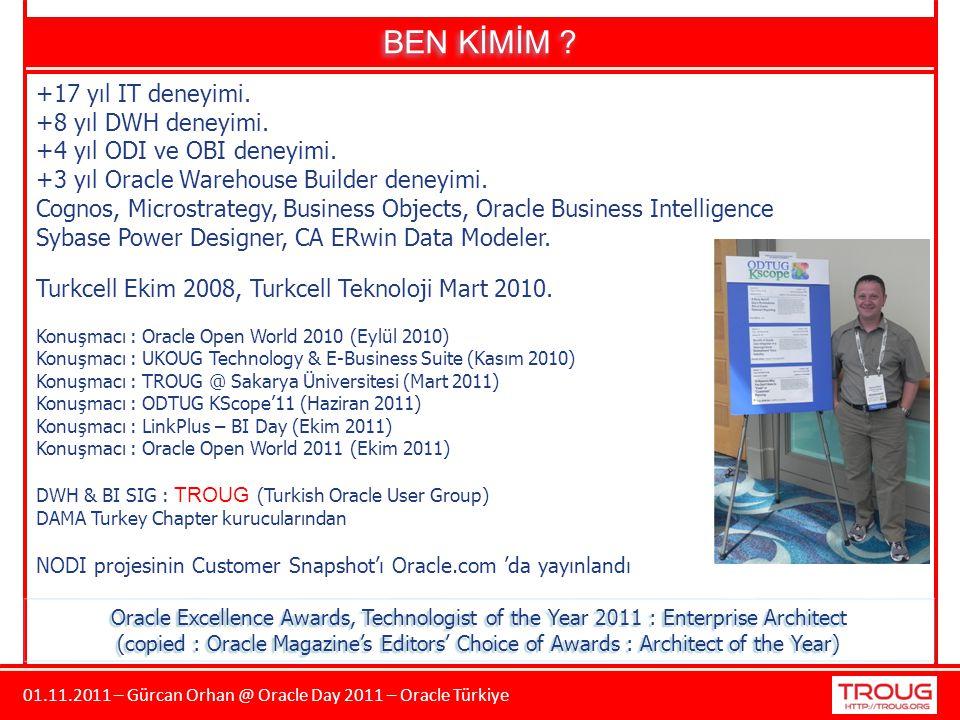 01.11.2011 – Gürcan Orhan @ Oracle Day 2011 – Oracle Türkiye BEN KİMİM ? +17 yıl IT deneyimi. +8 yıl DWH deneyimi. +4 yıl ODI ve OBI deneyimi. +3 yıl