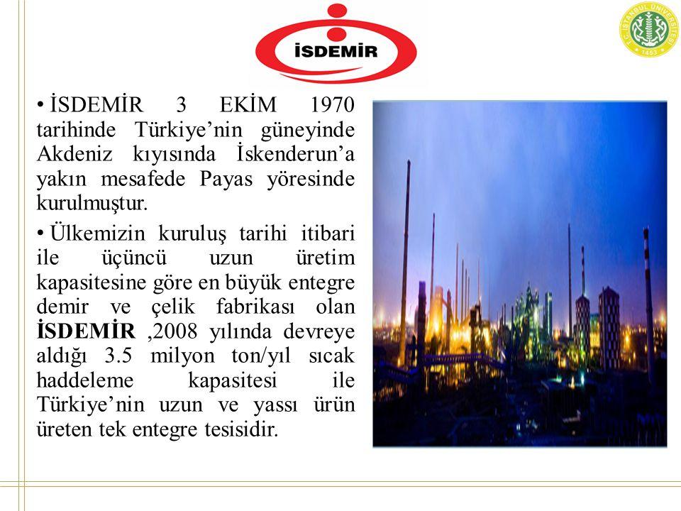 • İSDEMİR 3 EKİM 1970 tarihinde Türkiye'nin güneyinde Akdeniz kıyısında İskenderun'a yakın mesafede Payas yöresinde kurulmuştur.
