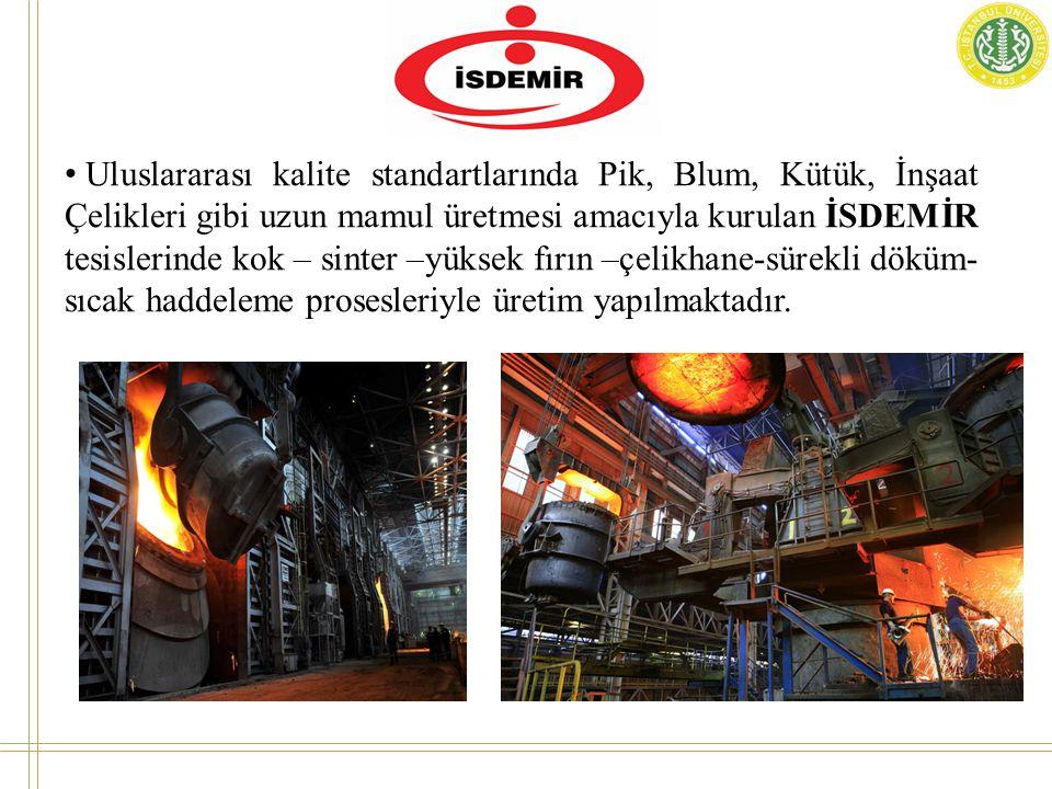 • Uluslararası kalite standartlarında Pik, Blum, Kütük, İnşaat Çelikleri gibi uzun mamul üretmesi amacıyla kurulan İSDEMİR tesislerinde kok – sinter –yüksek fırın –çelikhane-sürekli döküm- sıcak haddeleme prosesleriyle üretim yapılmaktadır.