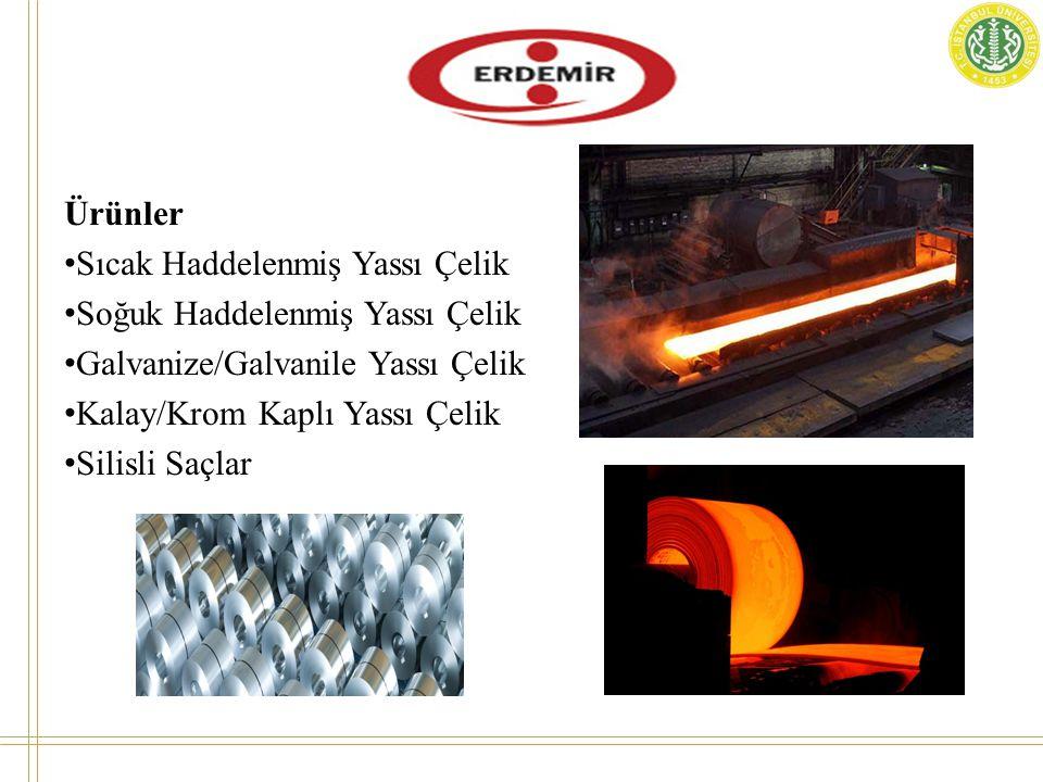 Ürünler • Sıcak Haddelenmiş Yassı Çelik • Soğuk Haddelenmiş Yassı Çelik • Galvanize/Galvanile Yassı Çelik • Kalay/Krom Kaplı Yassı Çelik • Silisli Saçlar