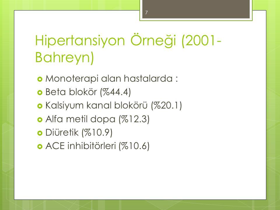 Hipertansiyon Örneği (2001- Bahreyn)  Monoterapi alan hastalarda :  Beta blokör (%44.4)  Kalsiyum kanal blokörü (%20.1)  Alfa metil dopa (%12.3) 