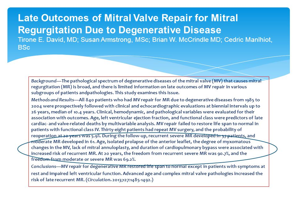 Background—The pathological spectrum of degenerative diseases of the mitral valve (MV) that causes mitral regurgitation (MR) is broad, and there is li