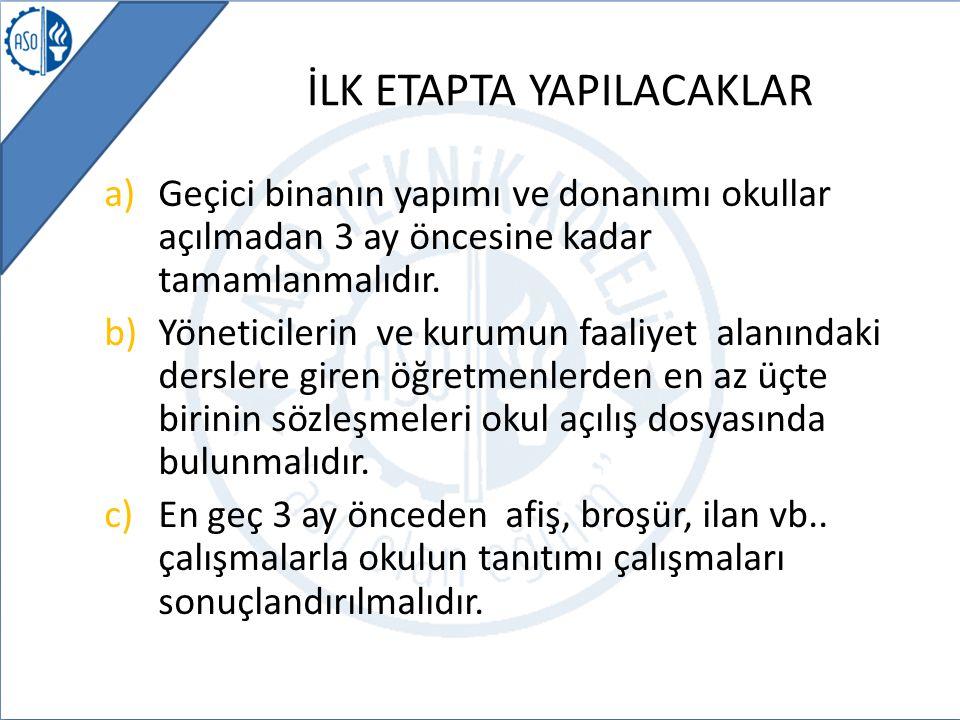 İLK ETAPTA YAPILACAKLAR a)Geçici binanın yapımı ve donanımı okullar açılmadan 3 ay öncesine kadar tamamlanmalıdır. b)Yöneticilerin ve kurumun faaliyet