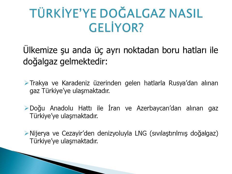 Ülkemize şu anda üç ayrı noktadan boru hatları ile doğalgaz gelmektedir:  Trakya ve Karadeniz üzerinden gelen hatlarla Rusya'dan alınan gaz Türkiye'ye ulaşmaktadır.