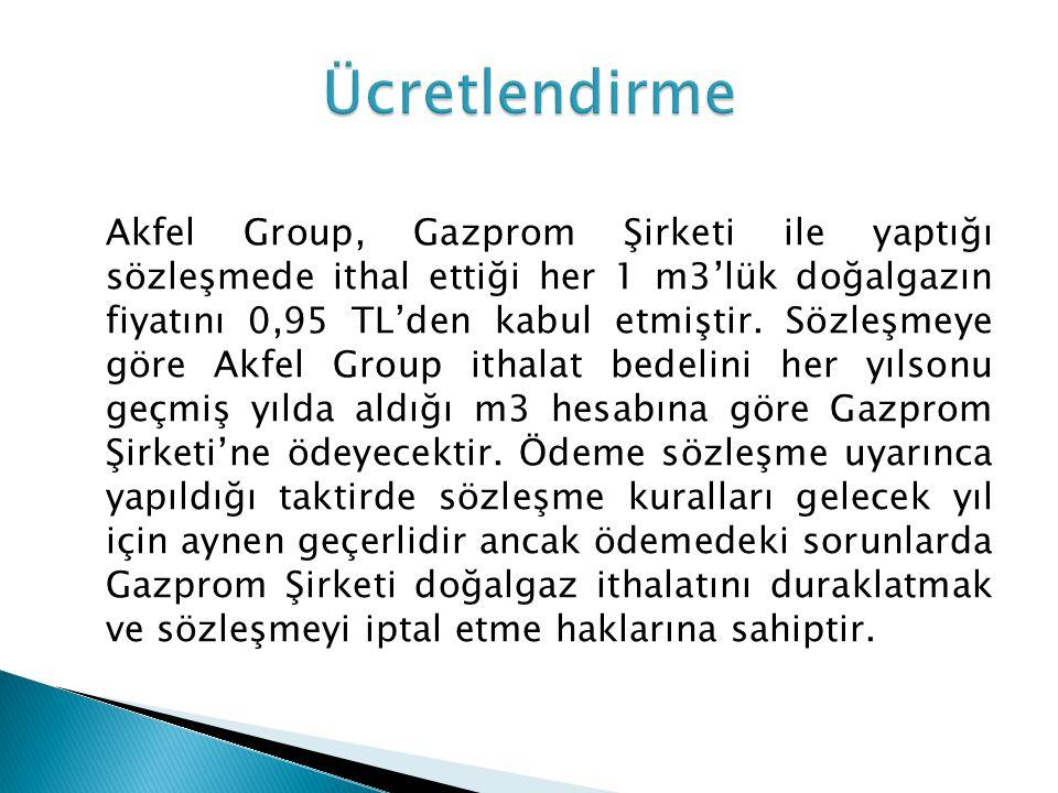 Akfel Group, Gazprom Şirketi ile yaptığı sözleşmede ithal ettiği her 1 m3'lük doğalgazın fiyatını 0,95 TL'den kabul etmiştir. Sözleşmeye göre Akfel Gr