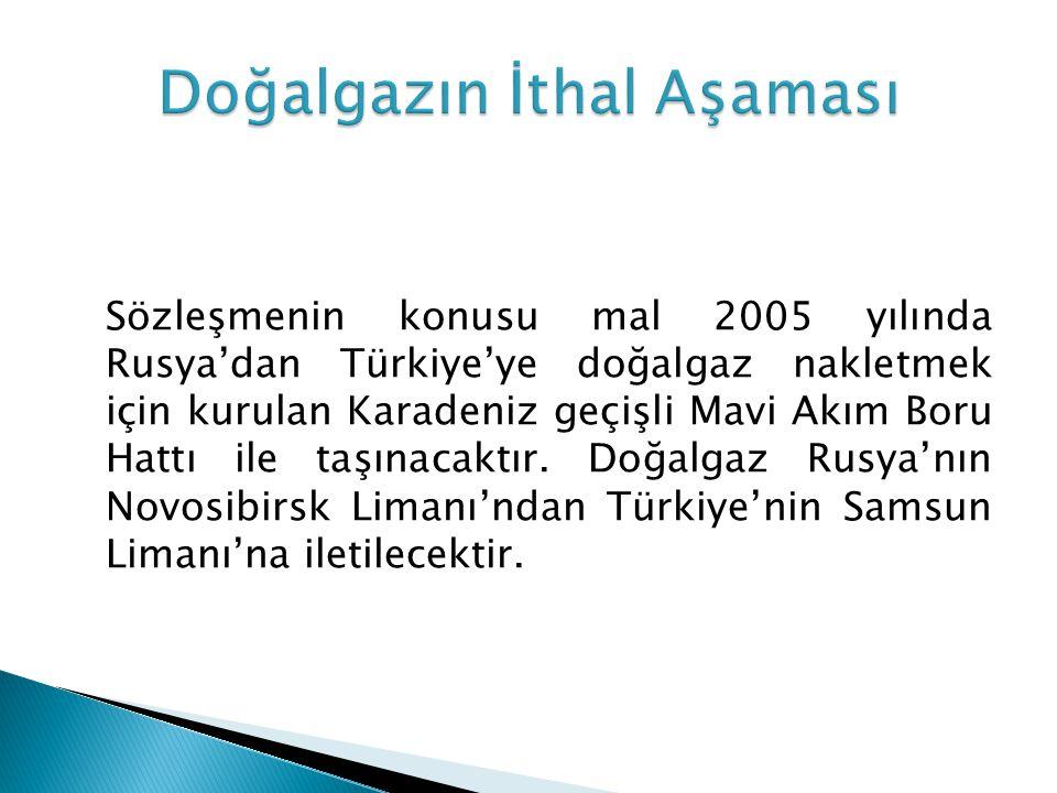 Sözleşmenin konusu mal 2005 yılında Rusya'dan Türkiye'ye doğalgaz nakletmek için kurulan Karadeniz geçişli Mavi Akım Boru Hattı ile taşınacaktır. Doğa