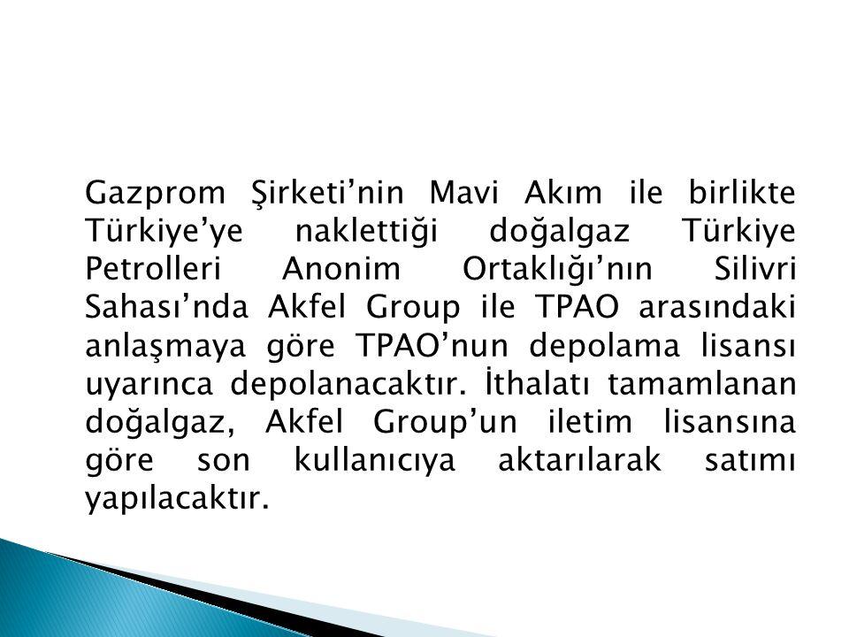 Gazprom Şirketi'nin Mavi Akım ile birlikte Türkiye'ye naklettiği doğalgaz Türkiye Petrolleri Anonim Ortaklığı'nın Silivri Sahası'nda Akfel Group ile TPAO arasındaki anlaşmaya göre TPAO'nun depolama lisansı uyarınca depolanacaktır.