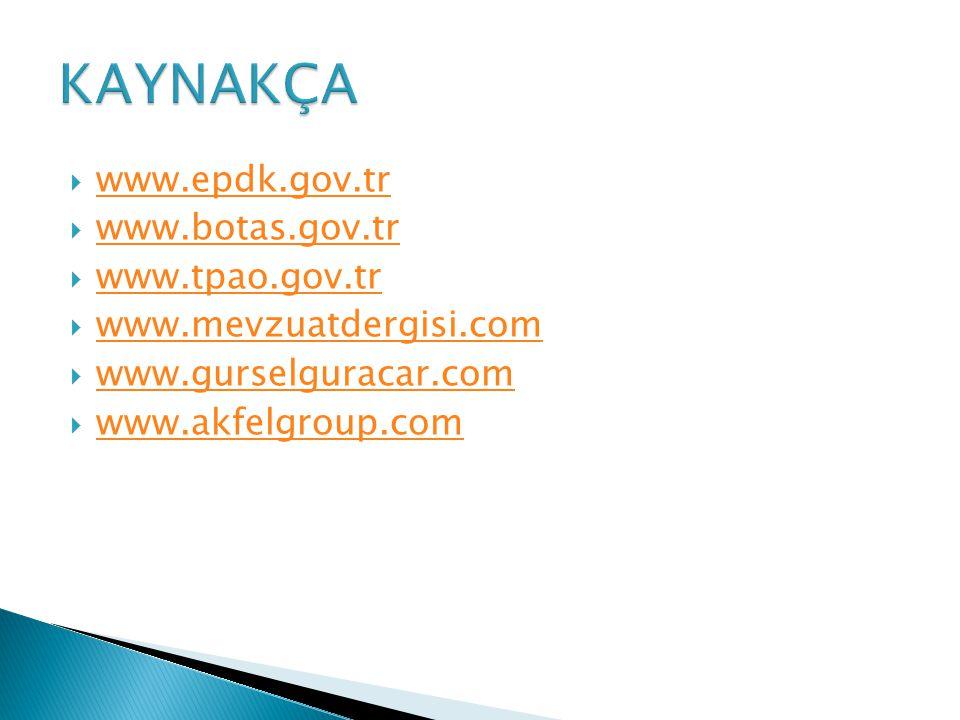 www.epdk.gov.tr www.epdk.gov.tr  www.botas.gov.tr www.botas.gov.tr  www.tpao.gov.tr www.tpao.gov.tr  www.mevzuatdergisi.com www.mevzuatdergisi.com  www.gurselguracar.com www.gurselguracar.com  www.akfelgroup.com www.akfelgroup.com