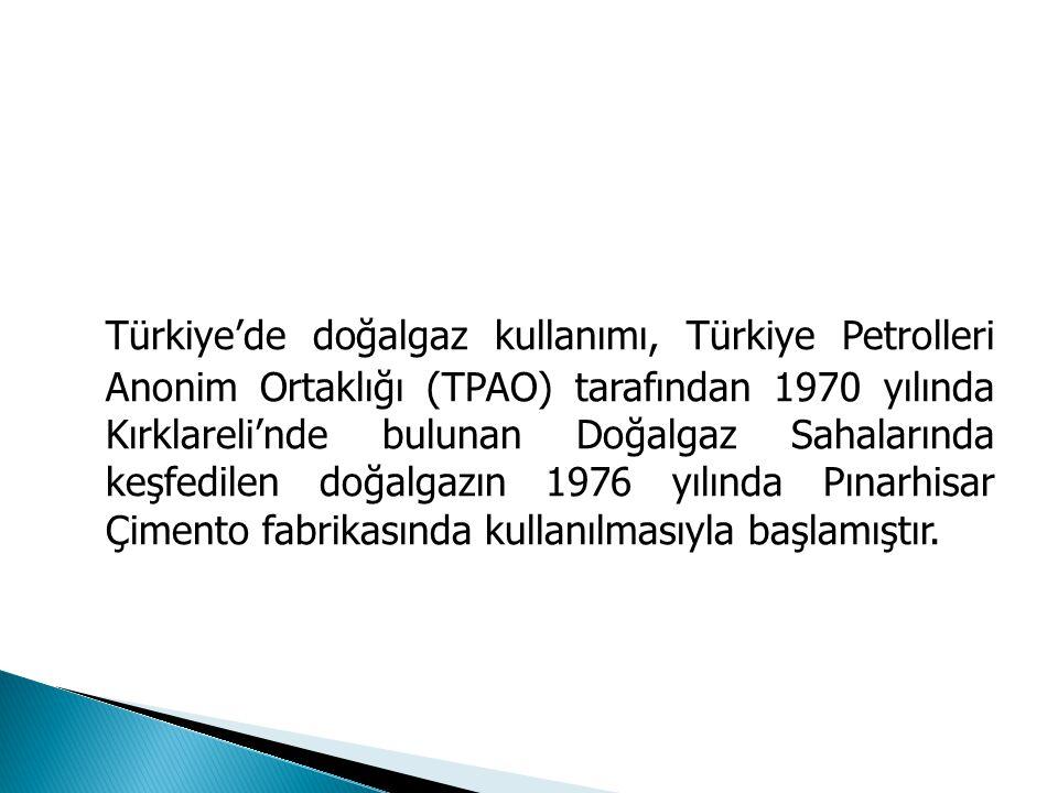 Türkiye'de doğalgaz kullanımı, Türkiye Petrolleri Anonim Ortaklığı (TPAO) tarafından 1970 yılında Kırklareli'nde bulunan Doğalgaz Sahalarında keşfedil