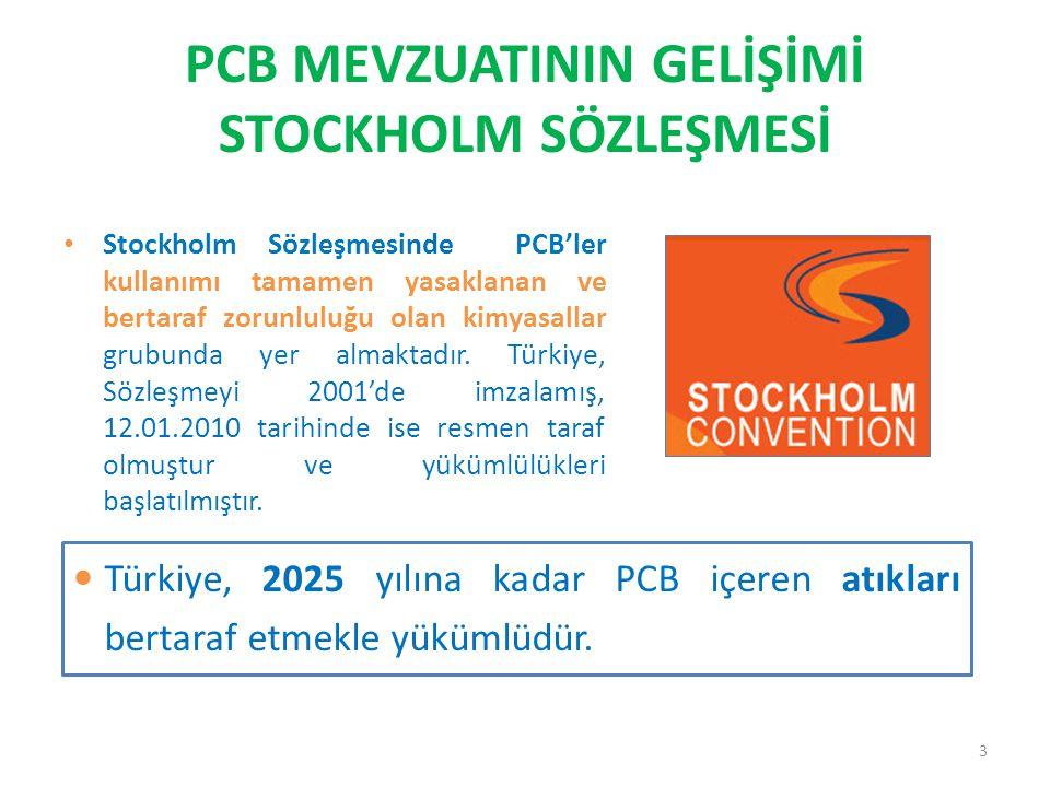PCB MEVZUATININ GELİŞİMİ STOCKHOLM SÖZLEŞMESİ • Stockholm Sözleşmesinde PCB'ler kullanımı tamamen yasaklanan ve bertaraf zorunluluğu olan kimyasallar
