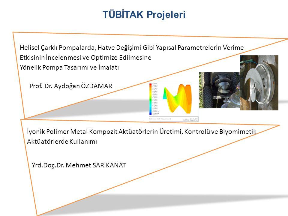 TÜBİTAK Projeleri Prof. Dr. Aydoğan ÖZDAMAR Helisel Çarklı Pompalarda, Hatve Değişimi Gibi Yapısal Parametrelerin Verime Etkisinin İncelenmesi ve Opti
