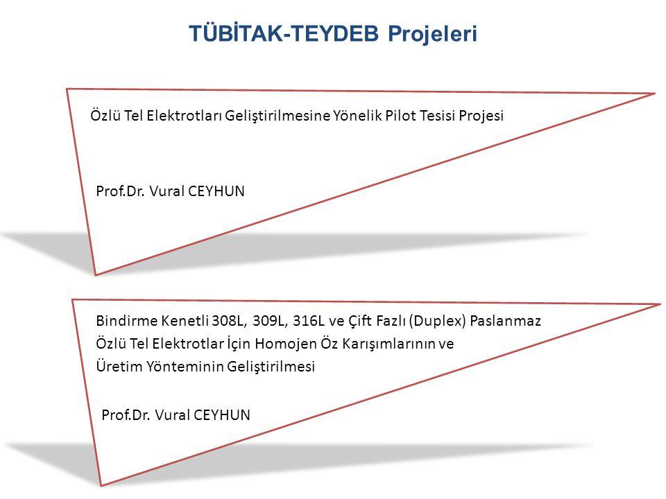 TÜBİTAK-TEYDEB Projeleri Özlü Tel Elektrotları Geliştirilmesine Yönelik Pilot Tesisi Projesi Prof.Dr. Vural CEYHUN Bindirme Kenetli 308L, 309L, 316L v