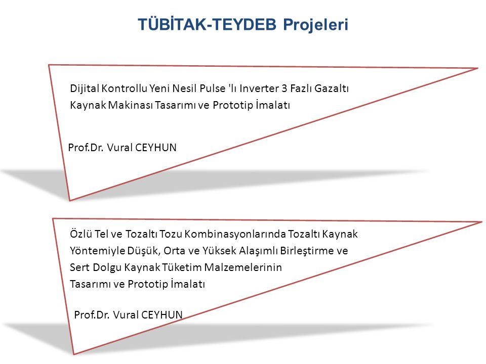 TÜBİTAK-TEYDEB Projeleri Dijital Kontrollu Yeni Nesil Pulse 'lı Inverter 3 Fazlı Gazaltı Kaynak Makinası Tasarımı ve Prototip İmalatı Prof.Dr. Vural C