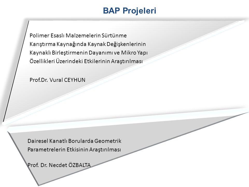 BAP Projeleri Polimer Esaslı Malzemelerin Sürtünme Karıştırma Kaynağında Kaynak Değişkenlerinin Kaynaklı Birleştirmenin Dayanımı ve Mikro Yapı Özellik