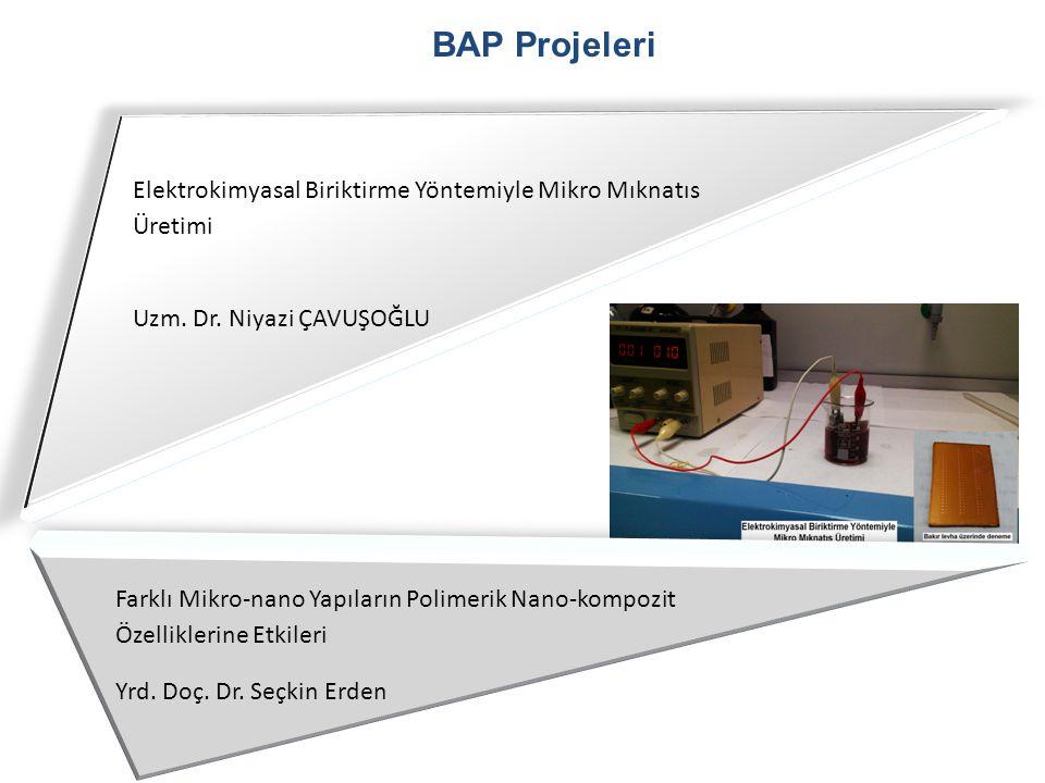 BAP Projeleri Uzm. Dr. Niyazi ÇAVUŞOĞLU Elektrokimyasal Biriktirme Yöntemiyle Mikro Mıknatıs Üretimi Farklı Mikro-nano Yapıların Polimerik Nano-kompoz