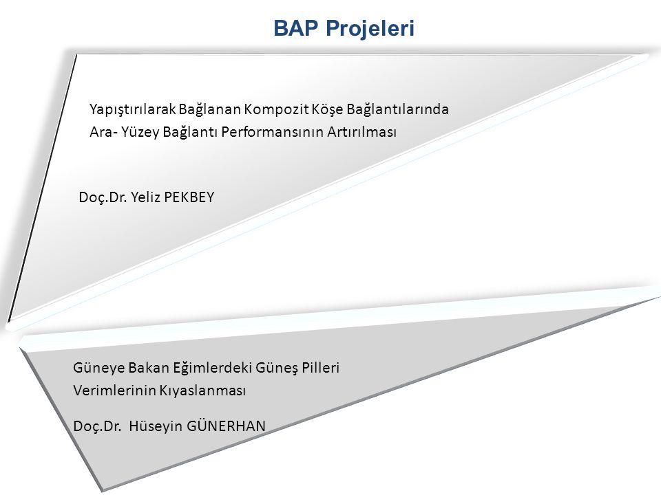 BAP Projeleri Doç.Dr. Yeliz PEKBEY Yapıştırılarak Bağlanan Kompozit Köşe Bağlantılarında Ara- Yüzey Bağlantı Performansının Artırılması Güneye Bakan E