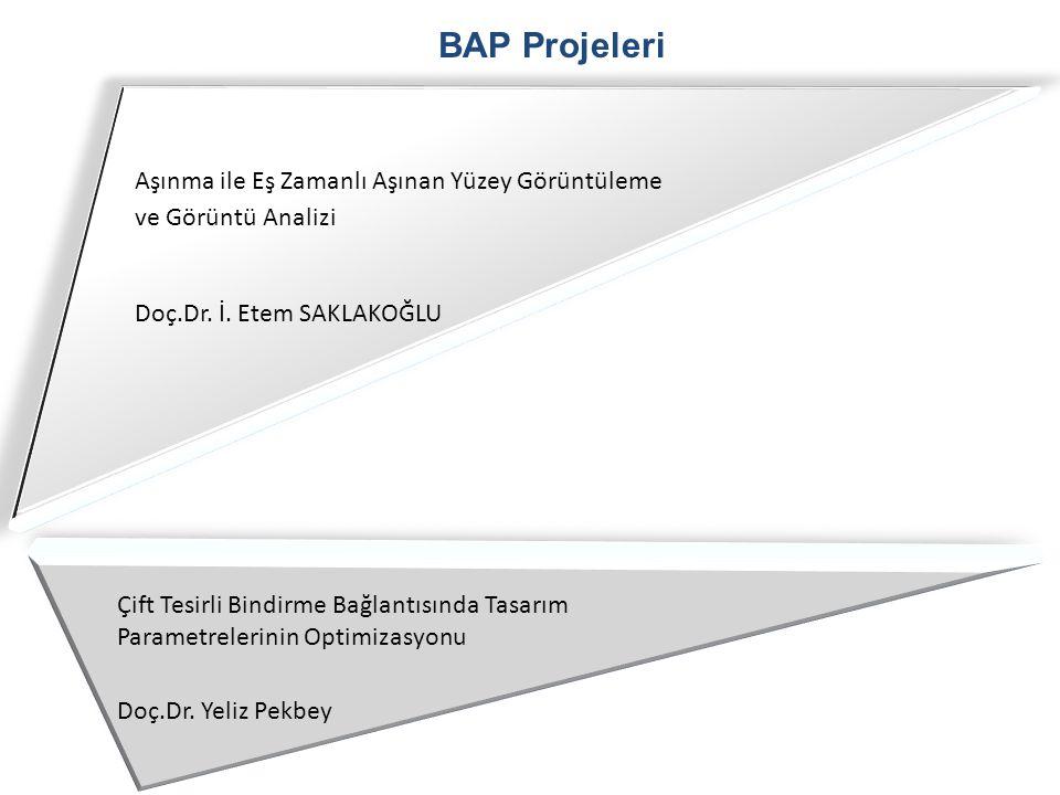 BAP Projeleri Aşınma ile Eş Zamanlı Aşınan Yüzey Görüntüleme ve Görüntü Analizi Doç.Dr. İ. Etem SAKLAKOĞLU Çift Tesirli Bindirme Bağlantısında Tasarım