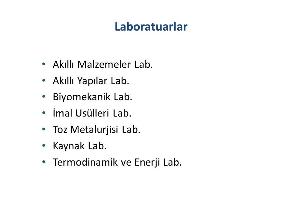 Laboratuarlar • Akıllı Malzemeler Lab. • Akıllı Yapılar Lab. • Biyomekanik Lab. • İmal Usülleri Lab. • Toz Metalurjisi Lab. • Kaynak Lab. • Termodinam
