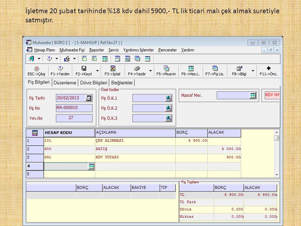 İşletme 20 şubat tarihinde %18 kdv dahil 5900,- TL lik ticari malı çek almak suretiyle satmıştır.